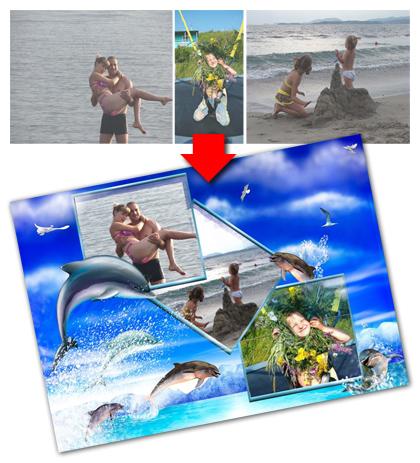 Оформление фотографий о летнем отдых на море в оригинальный коллаж